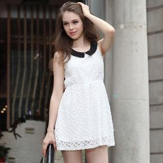 Europe stand collar sleeveless summer dress sweet new baby was thin lace skirt  $29.50 http://www.aliexpress.com/store/product/Europe-stand-collar-sleeveless-summer-dress-sweet-new-baby-was-thin-lace-skirt/237979_1694494211.html