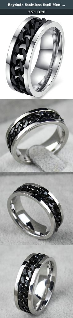 Beydodo Stainless Stell Men Rings(Punk Ring), Silver Border, Black Chain Middle, Size 12. Product Design Philosophy This is a very elegant, massive and charming ring that can be worn on many special occasion. Be it a casual glamorous look or a cool chic one, this set of stainless steel rings faceted smooth polishing are ideal. The inner arc design doesn't scratch fingers for the drawing process. Never rust, don't fade, not allergic, acid and alkali resistant, hard, bright. Gentle Hints…