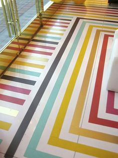 Take a look at this rainbow flooring from the Kate Spade store in Palm Springs. I think its a beautiful marriage between their love for color and design. Basement Flooring, Vinyl Flooring, Laminate Flooring, Parquet Flooring, Hardwood Floors, Painted Wood Floors, Painted Rug, Best Decor, Stenciled Floor