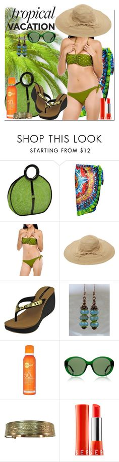 """""""going green vacay"""" by daincyng ❤ liked on Polyvore featuring Magid, Envya, Wet Seal, IPANEMA, The Row, Sephora Collection and TropicalVacation"""