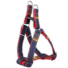 Dog Leash Harness, Denim Adjustable and Heavy Duty Dog No-pull Collar Leash,Dog Training Walking Running Anti-bite Leash Set Perfect for Large/Medium/Small Dog ^^ Want to know more, visit the site now : Cat Collar, Harness and Leash