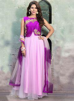 Purple N Lilac Pink Jacketed Floor Length Anarkali