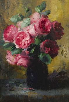 Frans Mortelmans Pink Roses In A Vase oil painting for sale; Select your favorite Frans Mortelmans Pink Roses In A Vase painting on canvas or frame at discount price. Flower Painting, Art Painting, Rose Painting, Floral Art, Painting, Oil Painting, Art, Beautiful Art, Love Art