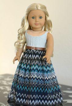 Doll Clothes: Denim and Chiffon Maxi Dress by RoyalDollBoutique