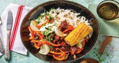American Beef Bowl & Smokey Corn Cobs - Cook Now! Roasted Vegetables, Veggies, American Beef, Beef Strips, Tinned Tomatoes, Corn On Cob, Non Stick Pan, Smoked Paprika, Tray Bakes