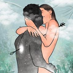 Illustration Art Drawing, Couple Illustration, Illustrations, Sad Girl Art, Painting Love Couple, Anime Cupples, Spirit Bear, Flame Art, Twin Flame Love