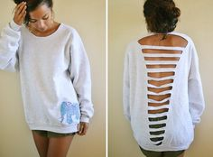 DIY tutorial for making an old sweatshirt into a ribbed back