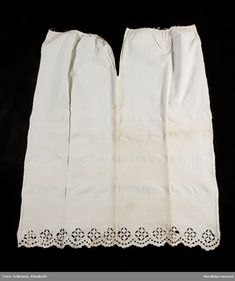 Remnant of petticoat with  woven borders and embroidered hem, Swedish, ca 1840-70. Nordiska Museet, nr. NM.0134541