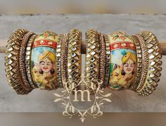 Beautiful Rajwadi Chura With Radha Krishna Photo - MBSKart Wedding Chura, Bridal Chura, Thread Bangles Design, Silk Thread Bangles, Radha Krishna Photo, Krishna Photos, Ritika Singh, Bridal Bangles, Types Of Girls