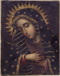 The Sorrowing Virgin, 18th century Spanish Colonial