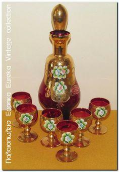 Κόκκινο σερβίτσιο ποτού Murano 1960's.