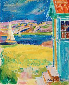 Folke Andreasson (Swedish, 1902-1948), Förstukvist vid bohuslänsk havsvik, n/d. Oil on panel, 61.00 x 49.50 cm