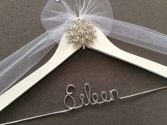 Exquisite Silver Jeweled Bridal Hanger, Personalized Wedding Dress Hanger,  Bridal Shower,