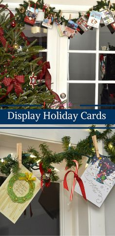 How to Display Holiday Cards by Happy Family Blog in Partnership with American Greetings and M&Ms Chocolate. #ad #MerryandBright
