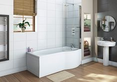 Bradfords Kitchen and Bathrooms ( Bath Panel, Chromotherapy, Shower Screen, Curved Glass, Kitchen Units, White Paneling, White Flats, Glass Shower, Bathroom Styling