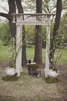 rustic, country, shabby chic outdoor ceremony 'altar' or backdrop area