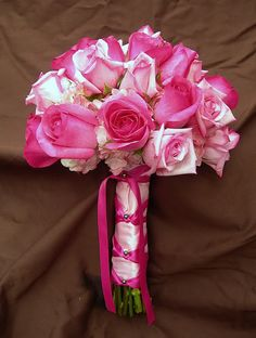 Pink bouquet. beautiful, I would just add lillys