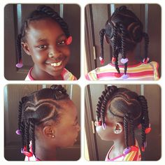 Braided pigtails and twists with red & purple Little Lady Gabby Bows by The Hair Geek!