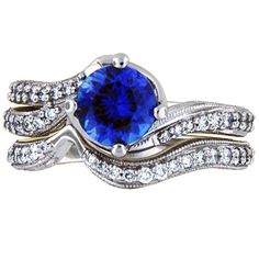 Sapphire Seacrest Matched Set with Pave-Set Diamonds and Milgrain