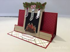 The Craft Spa - Stampin' Up! UK independent demonstrator : Festive Fireplace Centre Step Easel Card