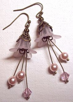 Earrings Pink Pastel Frosted Lucite Flower Swarovski Vintage Rose Sparkling Crystal Glass Pearl FREE SHIPPING. $6.95, via Etsy.