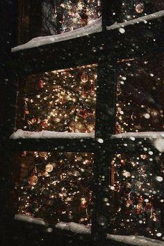 winter christmas tree light snow window merry