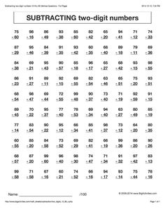 Subtraction math worksheets. Subtracting two-digit numbers. 6 different styles to choose from.