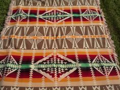 Beacon Camp Blanket Wigwam Ombre Pattern Circa 1920's 1930's Reversed Pattern