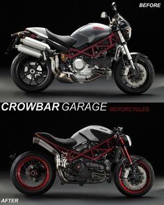 "Ducati Monster ""Pornografica"" project by Crowbar Garage. Ducati Desmo, Moto Ducati, Ducati Motorcycles, Scrambler Motorcycle, Motorcycle Gear, Bobber, Cb400 Cafe Racer, Ducati Cafe Racer, Cafe Racer Bikes"