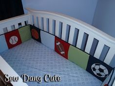 Sew Dang Cute Crafts: Crib Bumper Tutorial with links to other nursery DIYs --like how she incorporated multiple different fabrics Bumper Pads For Cribs, Baby Crib Bumpers, Baby Bumper, Cot Bumper, Baby Crafts, Cute Crafts, Kids Crafts, Crib Bumper Tutorial, Baby Bedroom Furniture