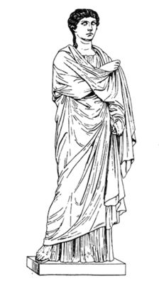 The palla was a woven rectangle made of wool that the Roman matron put on on top of her stola when she went outside. She could use the palla in many ways, like a modern scarf, but palla is often translated as cloak. A palla was like the toga, which was another woven, not sewn, expanse of cloth that could be pulled over the head.
