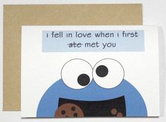 Cookie monster card by CherryOnTopDsgns on Etsy