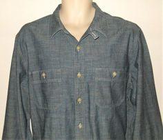 512be7d3e2 J CREW Chambray Denim Work Shirt Mens L Tab Collar Blue Large  JCREW   Chambray