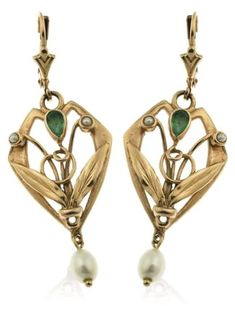 A pair of Art Nouveau drop earrings