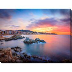 """FramedCanvasArt.com """"Sunset over Lloret de Mar, Catalonia, Spain"""" Giclee Print Canvas Wall Art"""