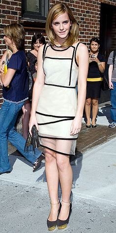 EMMA WATSON  Bringing Harry Potter and the Half-Blood Prince stateside, the British actress dons a black piped sheer Christopher Kane sheath dress and a fringed 3.1 Phillip Lim clutch for a stop at the Late Show with David Letterman.