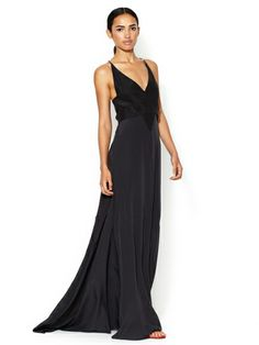 Silk V-Neck Flared Gown by Narciso Rodriguez at Gilt