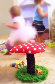 Whimsical Polka Dot Toadstool Mushroom Chair tree play house dollhouse doll artificial grass kids frog furniture indoor/outdoor fort birthday gift kid fairy forest green tea party celestial childrens fairies vintage land retro hobbit gnome room decor NEW. $79.99, via Etsy.