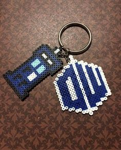 This+Doctor+Who+Tardis/Logo+Combo+Keychain+was+handmade+using+Mini+Perler+Beads!+  **All+Key+Chains+are+Made+to+Order.**