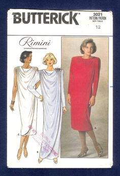 Vintage 1980s Butterick 3021 Evening Dress by Rimini by lucysbud, $7.00