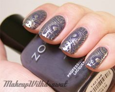 Sally Hansen Metallic Momentum to stamp - can't believe I'd never heard of nail polish stamping before this!