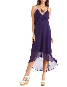 Crisscross Back Surplice Maxi Dress: Charlotte Russe Bridesmaid dress!!!  Dark Purple, but otherwise I think it's perfect!  It echoes the style of the bride's dress - beachy and romantic