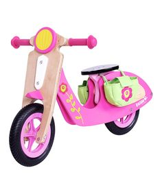 Adorable! most unique balance bike I've seen so far. Definitwly getting for my daughter's 2nd birthday. Pink Wood Scooter by DUSHI #zulily #zulilyfinds