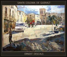 Venta Pintura.Pintor Ernest Descals: SANTA COLOMA DE QUERALT-PINTURA-CATALUNYA-PAISATGE...