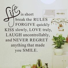 "Free shipping worldwide. Wall Decals Inspirational Quotes for Home Decor ""Life is short""$10.40Classification: For WallStyle: CreativeMaterial: AcrylicSpecificat"
