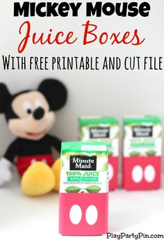 Easy DIY Mickey Mouse Juice Boxes with Free Printable and Cut File Mickey Mouse Clubhouse Birthday Party, Mickey Mouse 1st Birthday, Mickey Mouse Parties, Mickey Party, 2nd Birthday Parties, Birthday Ideas, Mickey Mouse Party Favors, Disney Parties, Fete Emma