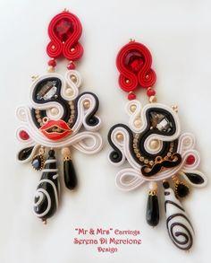 """""""Mr. & Mrs."""" Soutache Earrings by Serena Di Mercione. Swarovski; murano glass drop; red lips; mustache; black & white;  handsewn;"""