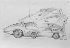 Cool Car Drawings, Drawing Sketches, 63 Corvette Stingray, Cars Toons, Cartoon Rat, Rat Fink, Cool Cars, Hot Rods, Wheels