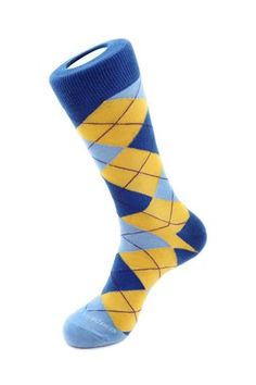 Unsimply Stitched Men's Argyle Size 8 to 12 Yellow/Blue: Combed Cotton Polymide Spandex Mens One Size. Wonderful for ladies in love with cropped jeans as well Machine Wash inside out for best results Sock Red Green Yellow, Purple Teal, Red And Blue, Argyle Socks, Blue Socks, Man Dressing Style, Trouser Socks, Calf Socks, 2 Ply