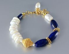 """Midnight Moon"" - Lapis Lazuli and Pearl Gold Bracelets"